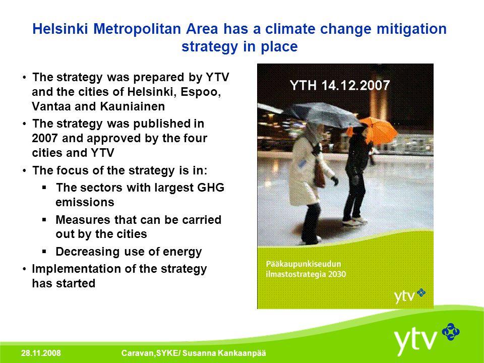 28.11.2008Caravan,SYKE/ Susanna Kankaanpää Helsinki Metropolitan Area has a climate change mitigation strategy in place The strategy was prepared by Y