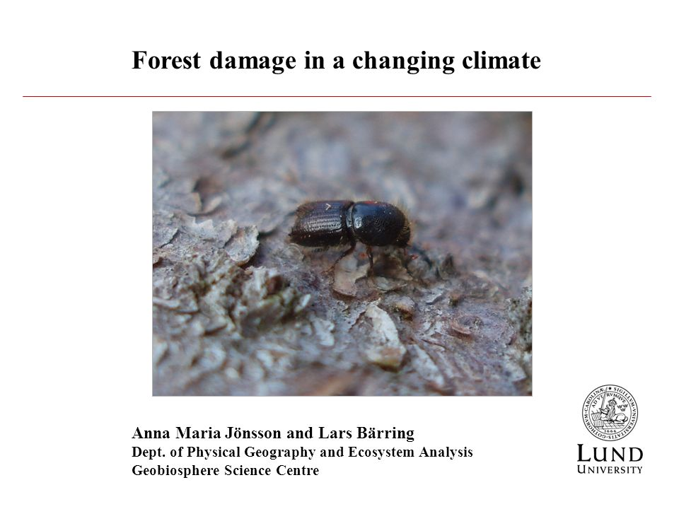 Forest damage in a changing climate Anna Maria Jönsson and Lars Bärring Dept.