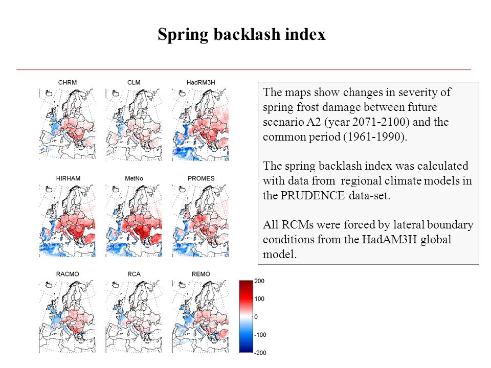 Spring backlash index The maps show changes in severity of spring frost damage between future scenario A2 (year 2071-2100) and the common period (1961-1990).