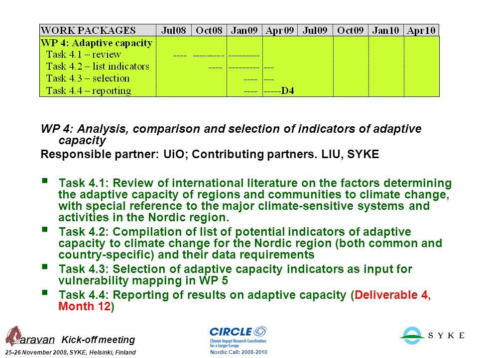 Kick-off meeting 25-26 November 2008, SYKE, Helsinki, Finland Nordic Call: 2008-2010 WP 4: Analysis, comparison and selection of indicators of adaptiv