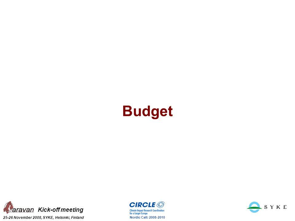 Kick-off meeting 25-26 November 2008, SYKE, Helsinki, Finland Nordic Call: 2008-2010 Budget