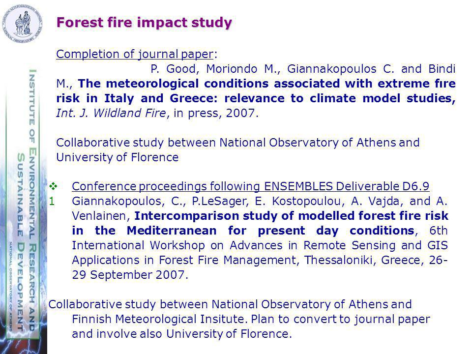 Forest fire impact study Completion of journal paper: P.