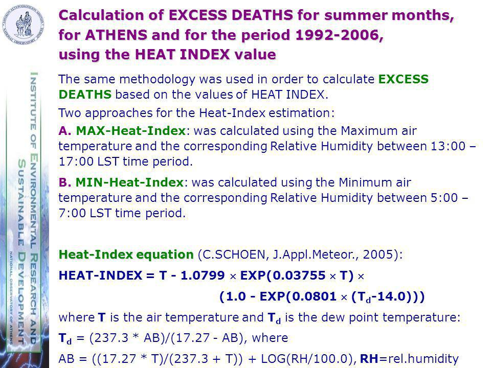 Calculation of EXCESS DEATHS for summer months, for ATHENS and for the period 1992-2006, using the HEAT INDEX value The same methodology was used in order to calculate EXCESS DEATHS based on the values of HEAT INDEX.