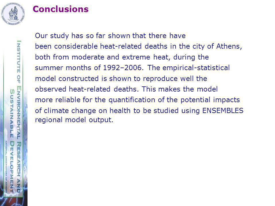 Conclusions Our study has so far shown that there have been considerable heat-related deaths in the city of Athens, both from moderate and extreme heat, during the summer months of 1992–2006.