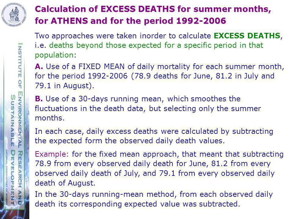 Calculation of EXCESS DEATHS for summer months, for ATHENS and for the period 1992-2006 Two approaches were taken inorder to calculate EXCESS DEATHS, i.e.