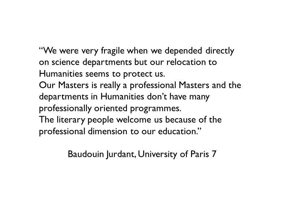 We were very fragile when we depended directly on science departments but our relocation to Humanities seems to protect us.