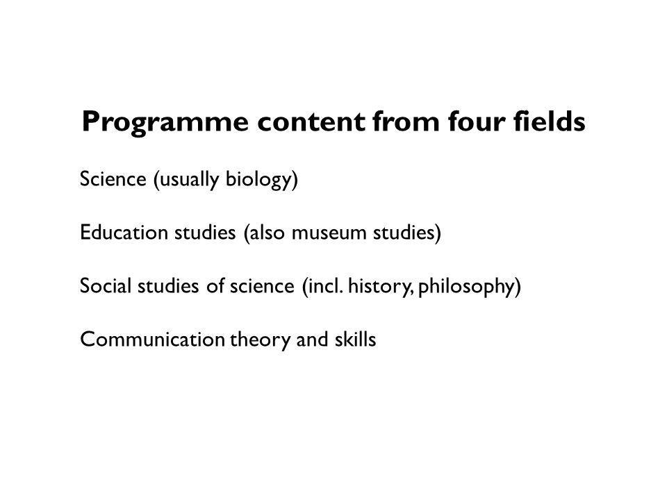 Programme content from four fields Science (usually biology) Education studies (also museum studies) Social studies of science (incl.