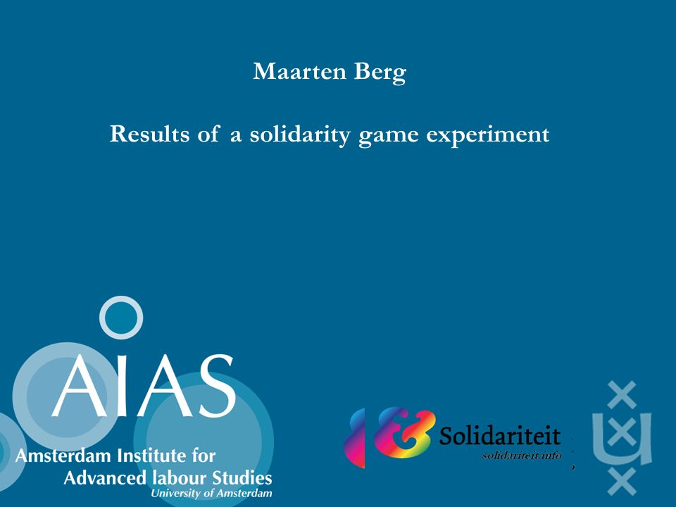 Maarten Berg Results of a solidarity game experiment