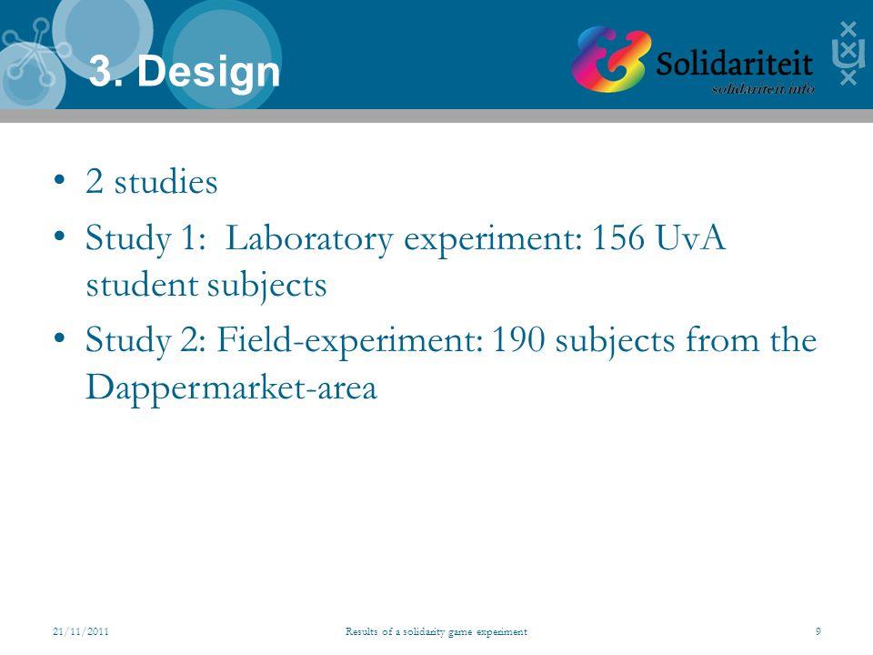 2 studies Study 1: Laboratory experiment: 156 UvA student subjects Study 2: Field-experiment: 190 subjects from the Dappermarket-area 3.