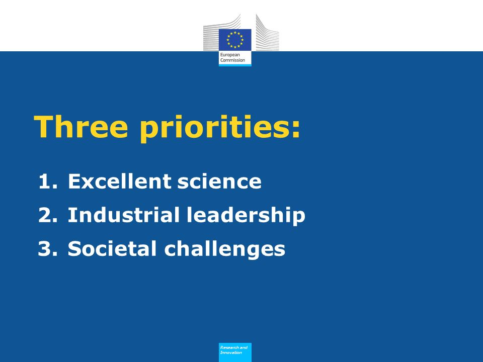 Research and Innovation Research and Innovation Three priorities: 1.Excellent science 2.Industrial leadership 3.Societal challenges