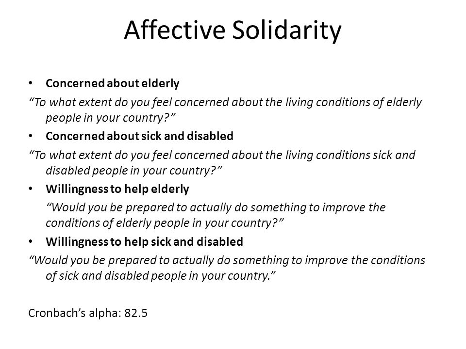 Affective Solidarity Concerned about elderly To what extent do you feel concerned about the living conditions of elderly people in your country.