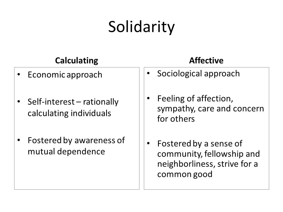 Solidarity Calculating Economic approach Self-interest – rationally calculating individuals Fostered by awareness of mutual dependence Affective Sociological approach Feeling of affection, sympathy, care and concern for others Fostered by a sense of community, fellowship and neighborliness, strive for a common good