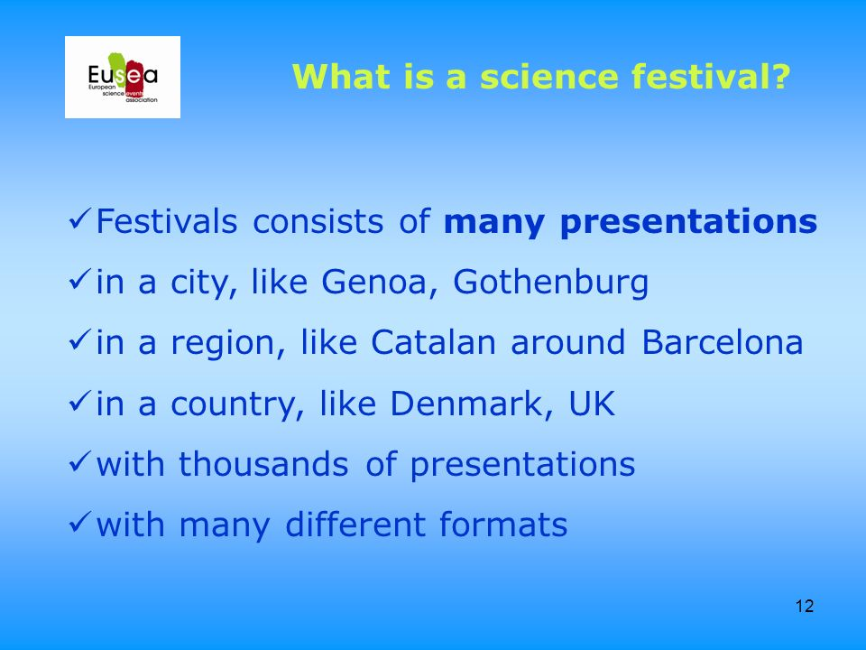 12 Festivals consists of many presentations in a city, like Genoa, Gothenburg in a region, like Catalan around Barcelona in a country, like Denmark, U