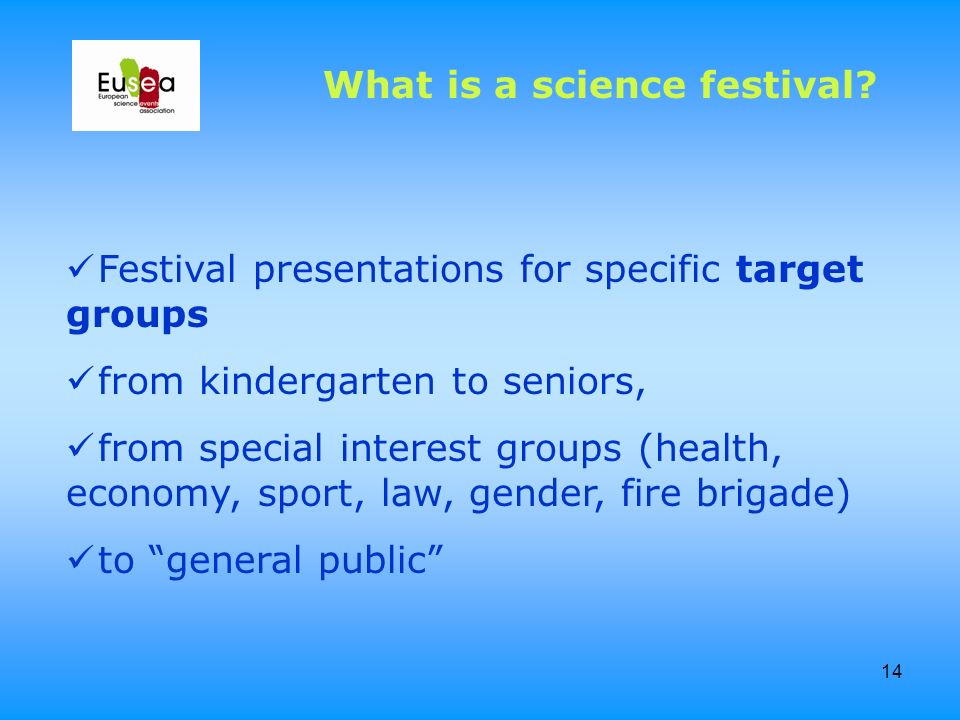 14 Festival presentations for specific target groups from kindergarten to seniors, from special interest groups (health, economy, sport, law, gender,