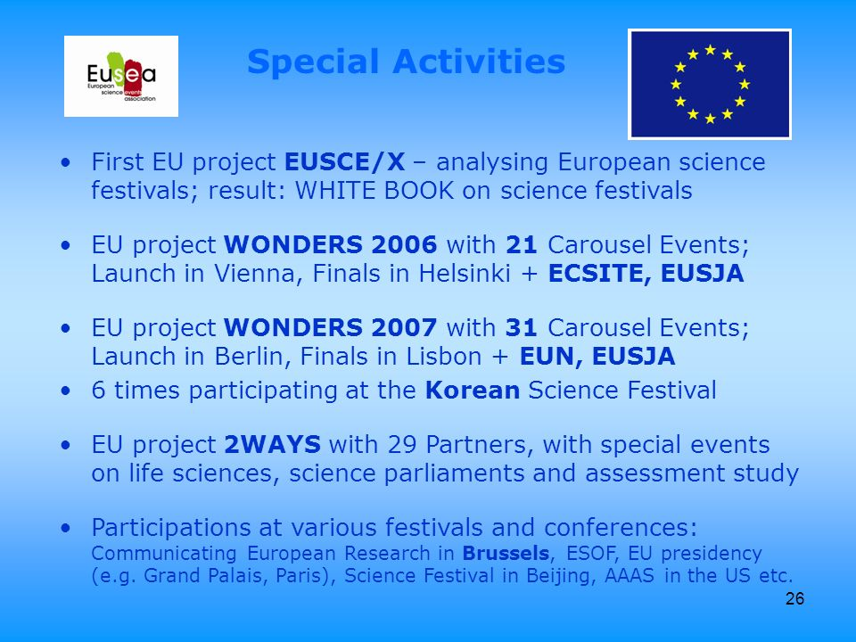 26 First EU project EUSCE/X – analysing European science festivals; result: WHITE BOOK on science festivals EU project WONDERS 2006 with 21 Carousel Events; Launch in Vienna, Finals in Helsinki + ECSITE, EUSJA EU project WONDERS 2007 with 31 Carousel Events; Launch in Berlin, Finals in Lisbon + EUN, EUSJA 6 times participating at the Korean Science Festival EU project 2WAYS with 29 Partners, with special events on life sciences, science parliaments and assessment study Participations at various festivals and conferences: Communicating European Research in Brussels, ESOF, EU presidency (e.g.