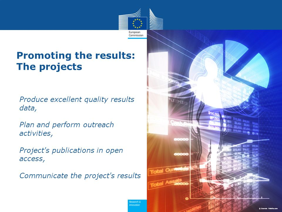 Promoting the results: The projects Produce excellent quality results data, Plan and perform outreach activities, Project's publications in open acces