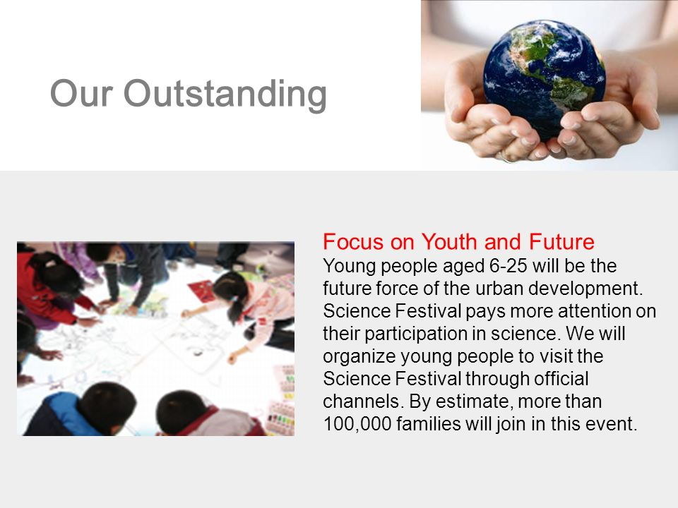 Our Outstanding Focus on Youth and Future Young people aged 6-25 will be the future force of the urban development.