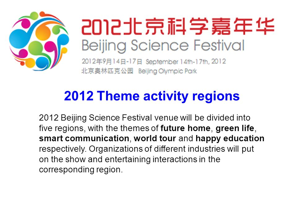 2012 Theme activity regions 2012 Beijing Science Festival venue will be divided into five regions, with the themes of future home, green life, smart communication, world tour and happy education respectively.
