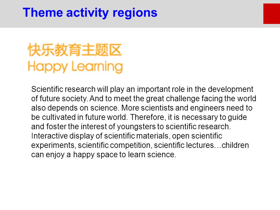 Scientific research will play an important role in the development of future society.