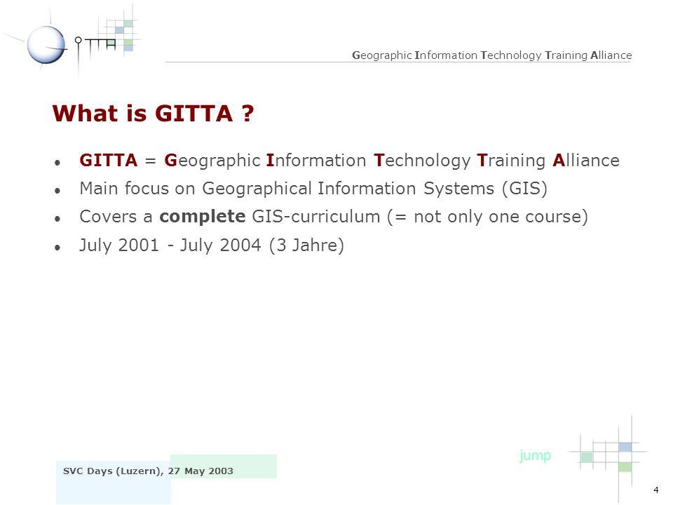 5 SVC Days (Luzern), 27 May 2003 Geographic Information Technology Training Alliance GITTA: The Consortium © Atlas der Schweiz covers all CH huge consortium ca.