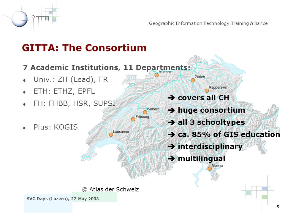 16 SVC Days (Luzern), 27 May 2003 Geographic Information Technology Training Alliance Factor IT l Specific workshops v IT-Tools (XML-Editors, DTDs, Flash) l Content creation v Authors can focus on content instead of IT v Multimedia creation out- sourced