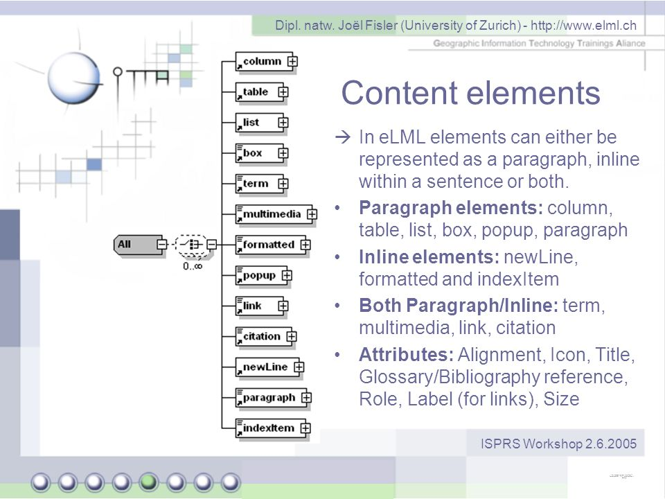 Dipl. natw. Joël Fisler (University of Zurich) - http://www.elml.ch ISPRS Workshop 2.6.2005 Content elements In eLML elements can either be represente