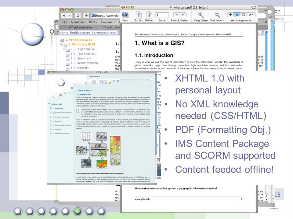 Dipl. natw. Joël Fisler (University of Zurich) - http://www.elml.ch ISPRS Workshop 2.6.2005 eLML: Output options XHTML 1.0 with personal layout No XML