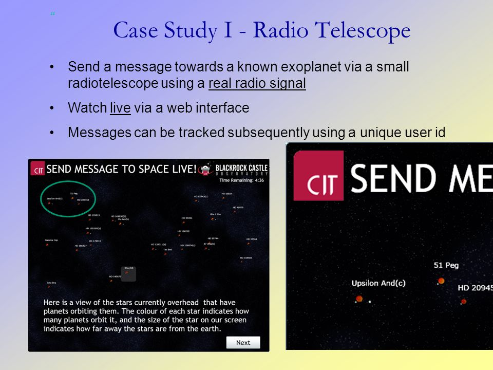 Send a message towards a known exoplanet via a small radiotelescope using a real radio signal Watch live via a web interface Messages can be tracked s