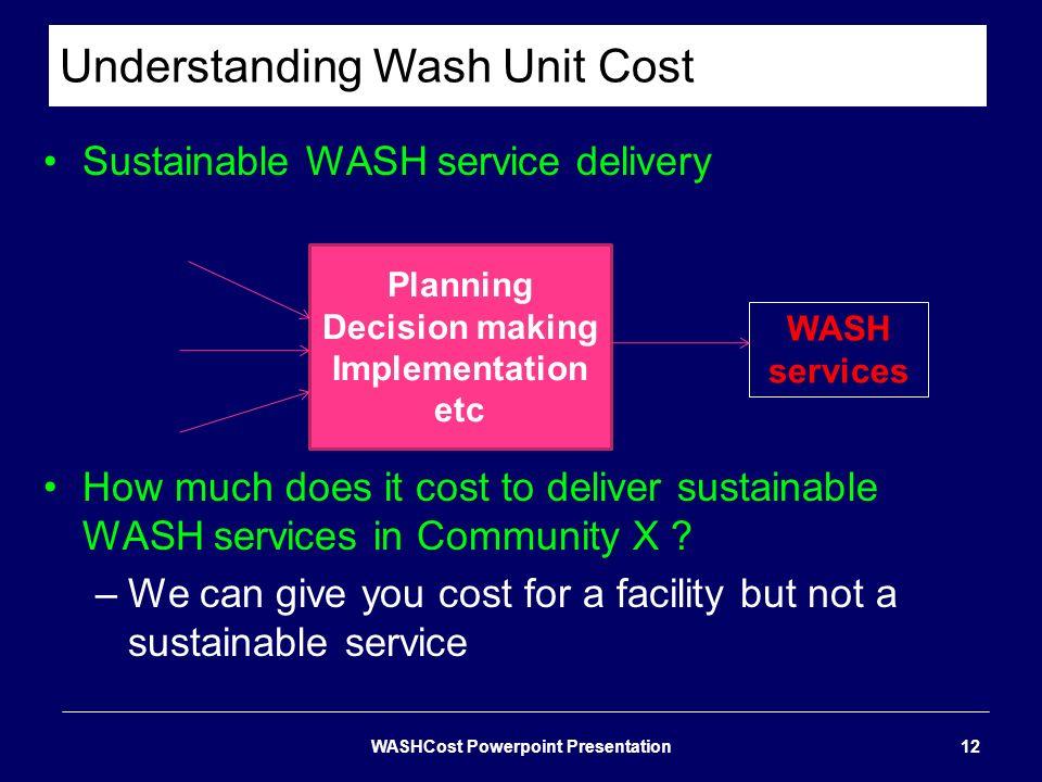 Understanding Wash Unit Cost WASHCost Powerpoint Presentation12 Sustainable WASH service delivery How much does it cost to deliver sustainable WASH se