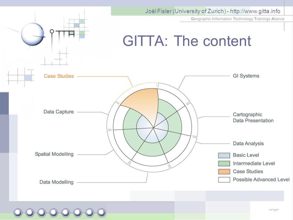 Joël Fisler (University of Zurich) - http://www.gitta.info Opening the content under the Creative Commons lic.