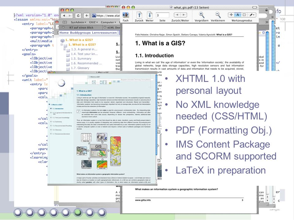 Joël Fisler (University of Zurich) - http://www.gitta.info eLML: Output options XHTML 1.0 with personal layout No XML knowledge needed (CSS/HTML) PDF