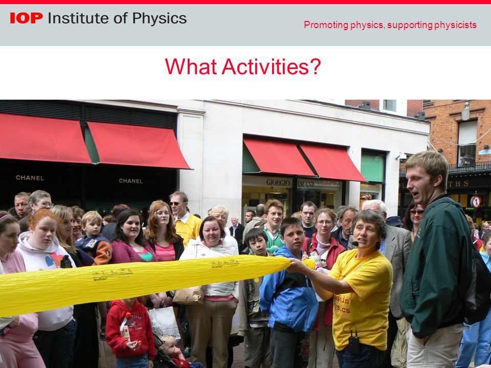 Promoting physics, supporting physicists What Activities?