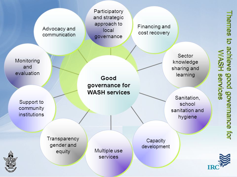 Good governance for WASH services Capacity development Advocacy and communication Sector knowledge sharing and learning Multiple use services Sanitati