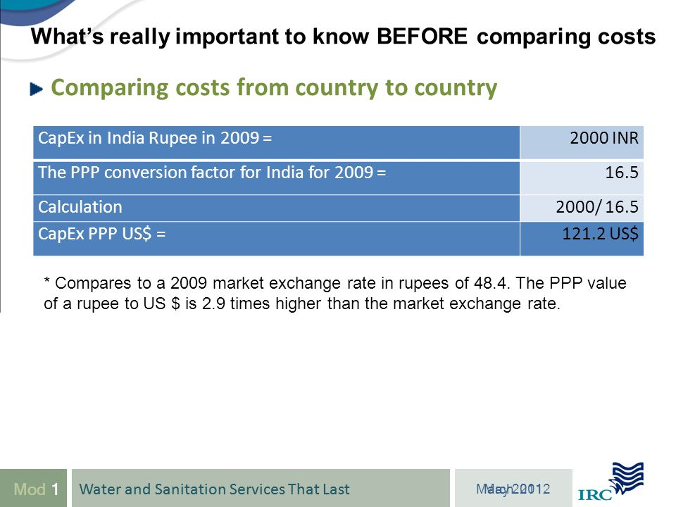 Water and Sanitation Services That Last March 2012 Mod 1 Comparing costs from country to country Water and Sanitation Services That Last May Whats really important to know BEFORE comparing costs CapEx in India Rupee in 2009 =2000 INR The PPP conversion factor for India for 2009 =16.5 Calculation2000/ 16.5 CapEx PPP US$ =121.2 US$ * Compares to a 2009 market exchange rate in rupees of 48.4.