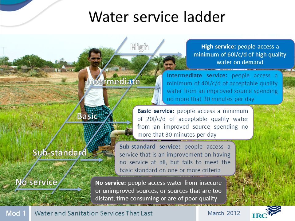 Water and Sanitation Services That Last March 2012 Mod 1 Water service ladder High service: people access a minimum of 60l/c/d of high quality water on demand Intermediate service: people access a minimum of 40l/c/d of acceptable quality water from an improved source spending no more that 30 minutes per day Basic service: people access a minimum of 20l/c/d of acceptable quality water from an improved source spending no more that 30 minutes per day Sub-standard service: people access a service that is an improvement on having no service at all, but fails to meet the basic standard on one or more criteria No service: people access water from insecure or unimproved sources, or sources that are too distant, time consuming or are of poor quality