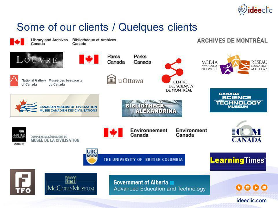 Some of our clients / Quelques clients