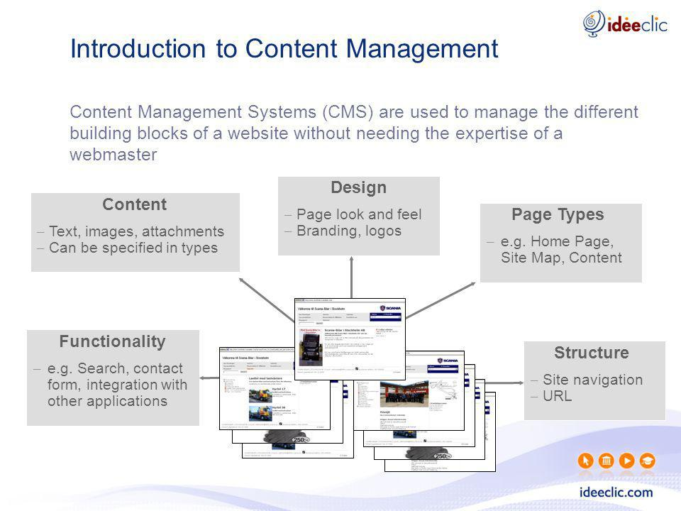 Introduction to Content Management Content Management Systems (CMS) are used to manage the different building blocks of a website without needing the