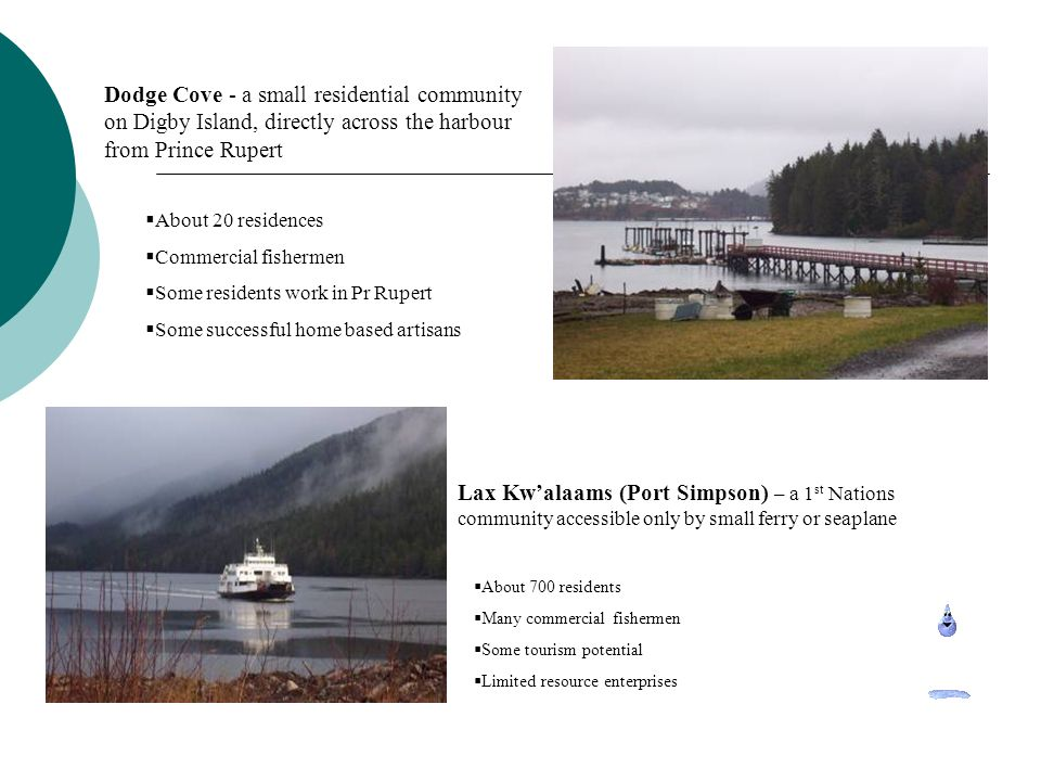 Port Edward is situated on the mainland, approximately 11km from Prince Rupert.