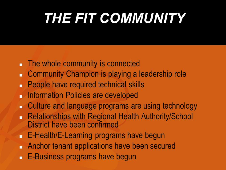 THE FIT COMMUNITY The whole community is connected Community Champion is playing a leadership role People have required technical skills Information P