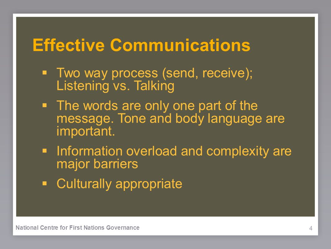444 National Centre for First Nations Governance Effective Communications Two way process (send, receive); Listening vs.