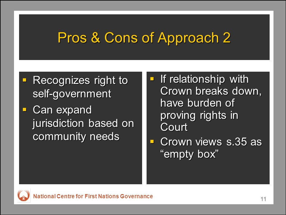 National Centre for First Nations Governance 11 Pros & Cons of Approach 2 Recognizes right to self-government Recognizes right to self-government Can expand jurisdiction based on community needs Can expand jurisdiction based on community needs If relationship with Crown breaks down, have burden of proving rights in Court If relationship with Crown breaks down, have burden of proving rights in Court Crown views s.35 as empty box Crown views s.35 as empty box