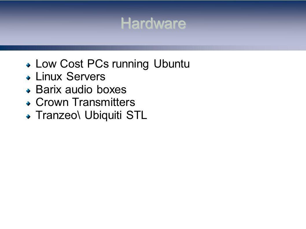 Hardware Low Cost PCs running Ubuntu Linux Servers Barix audio boxes Crown Transmitters Tranzeo\ Ubiquiti STL