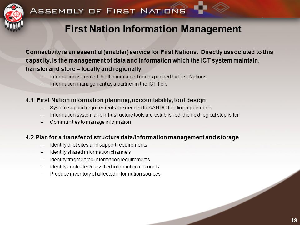 First Nation Information Management Connectivity is an essential (enabler) service for First Nations.