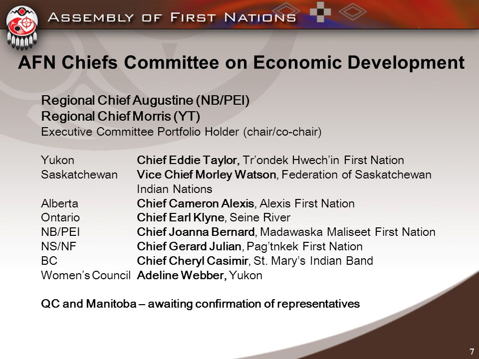 7 AFN Chiefs Committee on Economic Development Regional Chief Augustine (NB/PEI) Regional Chief Morris (YT) Executive Committee Portfolio Holder (chair/co-chair) Yukon Chief Eddie Taylor, Trondek Hwechin First Nation SaskatchewanVice Chief Morley Watson, Federation of Saskatchewan Indian Nations AlbertaChief Cameron Alexis, Alexis First Nation OntarioChief Earl Klyne, Seine River NB/PEI Chief Joanna Bernard, Madawaska Maliseet First Nation NS/NF Chief Gerard Julian, Pagtnkek First Nation BC Chief Cheryl Casimir, St.