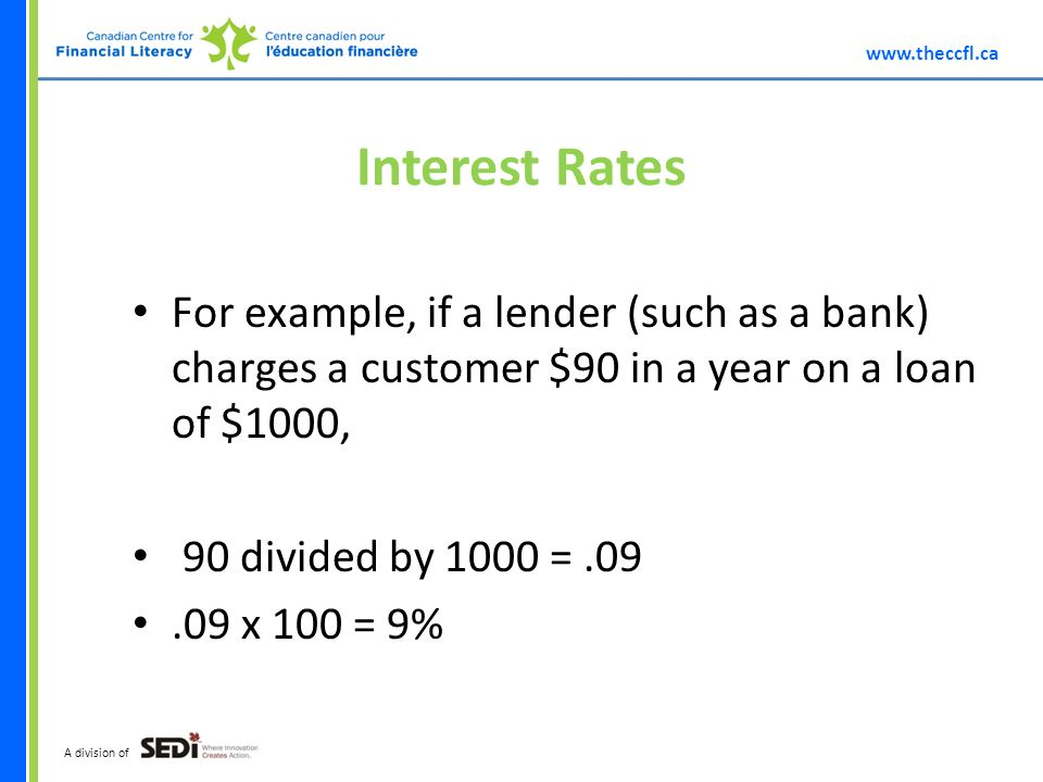 A division of Interest Rates For example, if a lender (such as a bank) charges a customer $90 in a year on a loan of $1000, 90 divided by 1000 = x 100 = 9%