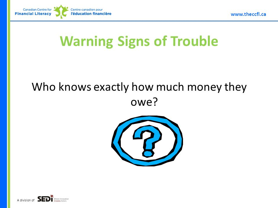 A division of Warning Signs of Trouble Who knows exactly how much money they owe