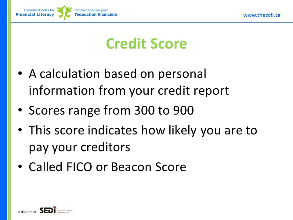 A division of Credit Score A calculation based on personal information from your credit report Scores range from 300 to 900 This score indicates how likely you are to pay your creditors Called FICO or Beacon Score