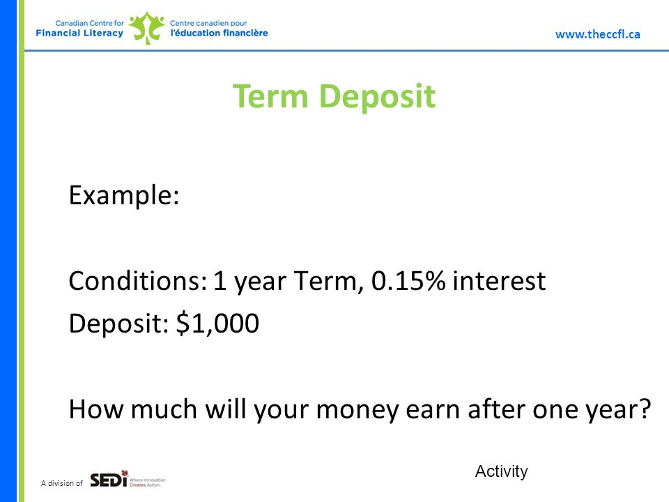 A division of Term Deposit Example: Conditions: 1 year Term, 0.15% interest Deposit: $1,000 How much will your money earn after one year.