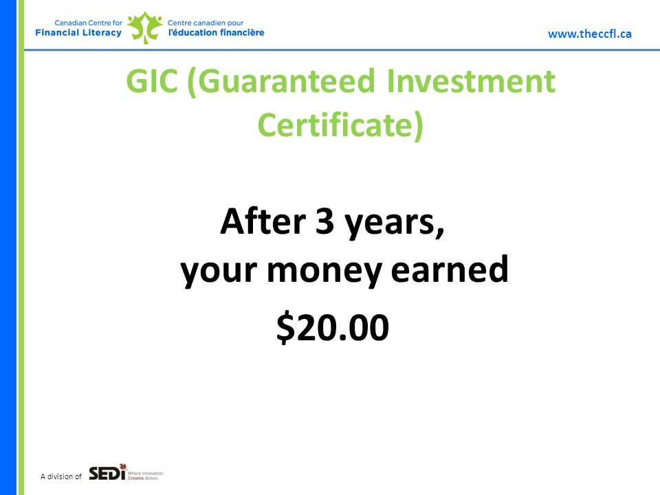 A division of GIC (Guaranteed Investment Certificate) After 3 years, your money earned $20.00
