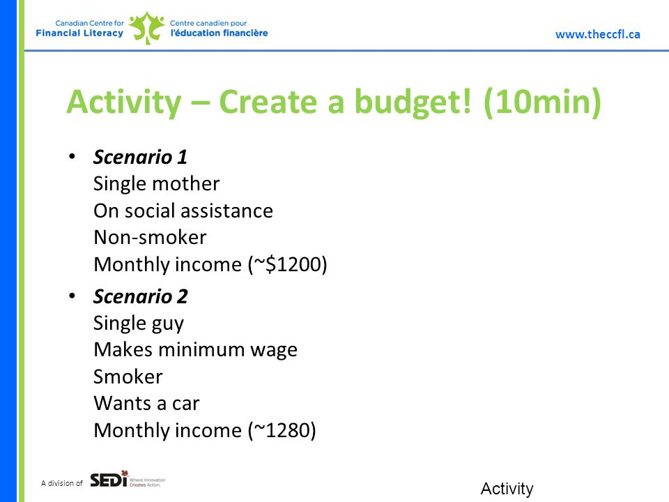 A division of Activity – Create a budget.